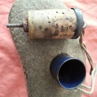 Antique military water bottle, blue enameled and felt covering